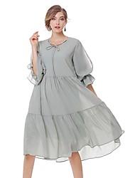 Feminino Evasê Vestido,Para Noite Casual Simples Moda de Rua Sólido Decote V Médio Manga 3/4 Algodão Linho Verão Outono Cintura Média