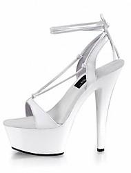 Для женщин Сандалии Формальная обувь Полиуретан Лето Для праздника Для вечеринки / ужина Цветы из сатина Пряжки На шпильке Белый Черный