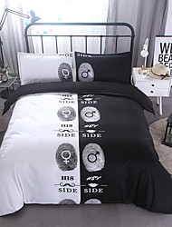 3D 3 Piece Poly/Cotton Reactive Print 3pcs (1 Duvet Cover 2 Shams)  His Side Her side