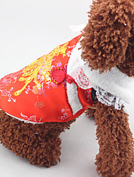 Dog Coat Dog Clothes New Year's Embroidered Ruby