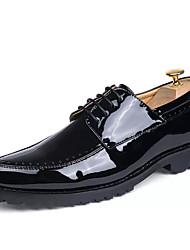 Masculino sapatos Couro Ecológico Primavera Outono Sapatos formais Oxfords Cadarço Para Festas & Noite Preto Vinho