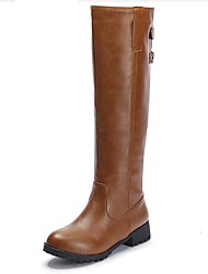 Women's Shoes PU Fall Winter Comfort Fashion Boots Boots For Casual Black Brown Khaki