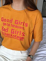 Damen Buchstabe Retro Ausgehen T-shirt,Rundhalsausschnitt Sommer Kurzarm Baumwolle