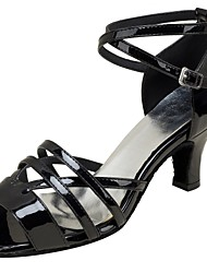 "Women's Latin Real Leather Sandals Performance Criss-Cross Cuban Heel Black 2"" - 2 3/4"" Customizable"