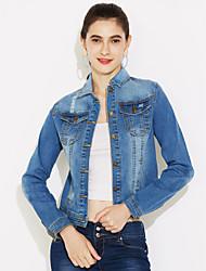 Vestes en Jean Femme,Couleur Pleine Décontracté / Quotidien Vintage Manches Longues Col de Chemise Bleu Coton Spandex Moyen Automne Hiver