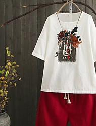 T-shirt Da donna Per uscire Casual Semplice Moda città Estate Autunno,Tinta unita Ricamato Rotonda Altro Manica cortaSottile Medio
