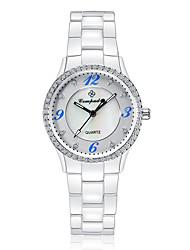 Жен. Детские Модные часы Swiss Кварцевый Защита от влаги С гравировкой Керамика Группа Блестящие Повседневная Элегантные часы Белый