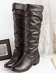 Feminino Sapatos Couro Ecológico Outono Inverno Conforto Botas Salto Baixo Ponta Redonda Com Para Casual Branco Preto