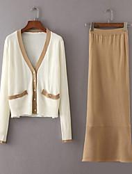 Damen Solide Einfach Niedlich Aktiv Festtage Ausgehen Lässig/Alltäglich Shirt Rock Anzüge,V-Ausschnitt Frühling Herbst Lange Ärmel
