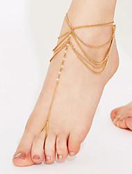 Women's Anklet/Bracelet Crystal Tassel Beaded Multi Layer Bikini Costume Jewelry Jewelry Jewelry For Party Beach