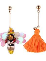 Fashion Women Bee Fabric Tassel Drop Mismatching Earrings