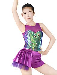MiDee Jazz Dresses Women's / Children's Performance Spandex / Sequined Draped/ Sequins 1 Piece Purple Jazz Sleeveless