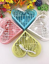 50 Фавор держатель-В форме сердца Розовая бумага Коробочки