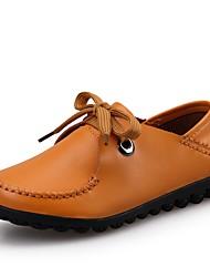 Women's Flats Comfort Cowhide Spring Summer Fall Casual Walking Split Joint Flat Heel Ruby Brown Yellow Black Flat