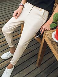 Masculino Moda de Rua Cintura Média Micro-Elástica Chinos Calças,Delgado Sólido