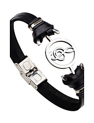 Men's Women's Leather Bracelet Fashion Personalized Rock Stainless Steel Leather Music Notes Jewelry For Gift Stage Going out Club Street