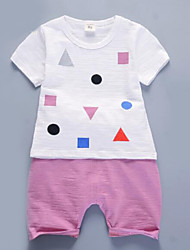 Girls' Geometic Sets,Cotton Summer Clothing Set