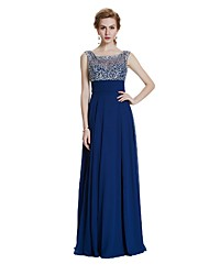 Sheath / Column Scoop Neck Floor Length Chiffon Evening Dress with Beading