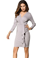 Women's Holiday Casual/Daily Work Vintage Simple Sheath Dress,Solid Deep V Above Knee Long Sleeves Cotton Polyester Summer High Rise