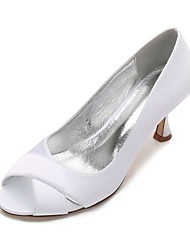 Women's Wedding Shoes Comfort Basic Pump Spring Summer Satin Wedding Dress Party & Evening Split Joint Low Heel Kitten Heel Stiletto Heel
