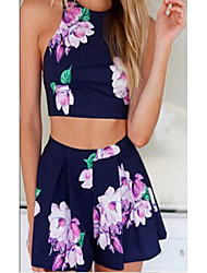 Women's Sports Simple Summer Tank Top Skirt Suits,Floral Round Neck Sleeveless Stretchy