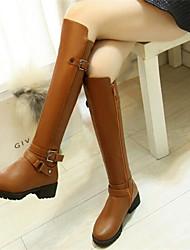 Women's Boots Comfort PU Fall Winter Casual Comfort Brown Black 2in-2 3/4in