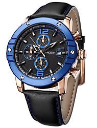 MEGIR Муж. Нарядные часы Модные часы Китайский Кварцевый Крупный циферблат Натуральная кожа Группа Cool Повседневная Черный
