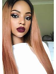 Parrucche diritti frontali del merletto dei capelli umani 100% radici brasiliane del nero ombre dei capelli 1b / 33 colore 130% parrucca