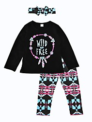2017 Girls' Print Sets Cotton Spring Fall Long Sleeve Clothing Set Wild And Free Kids Girls 3pcs Outfits with Headband