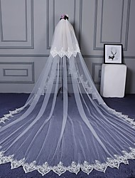 Wedding Veil Two-tier Elbow Veils Cathedral Veils Cut Edge Lace Applique Edge Lace Tulle