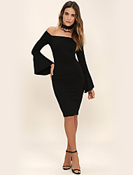 Women's Holiday Going out Casual/Daily Simple Street chic Loose Dress,Solid Round Neck Knee-length Short Sleeves Polyester Summer Fall