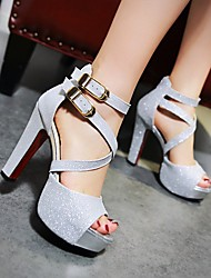 Women's Shoes PU Summer Comfort Heels Stiletto Heel Peep Toe With For Casual Gold Black Silver