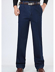 Men's High Rise Micro-elastic Jeans Pants,Simple Straight Solid