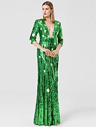 Funda / Columna Cuello en V Hasta el Suelo Lentejuelas Evento Formal Vestido con Cuentas Apliques por TS Couture®