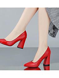 Femme Chaussures à Talons Confort Escarpin Basique Vrai cuir Polyuréthane Printemps Eté Décontracté Blanc Noir Rouge 10 à 12 cm