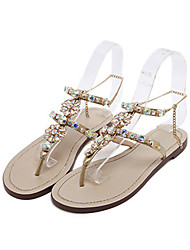 Women's Sandals Novelty Leatherette Summer Fall Casual Dress Walking Novelty Rhinestone Flat Heel Gold Flat