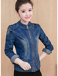 Women's Going out Simple Winter Denim Jacket,Solid Stand Long Sleeve Short Polyester