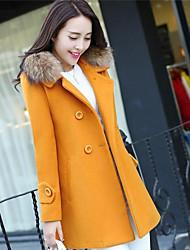 Для женщин На каждый день Зима Пальто Свободный вырез,Простой Однотонный Длинная Длинный рукав,Хлопок