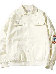 Men's Plus Size Fashion Slim Turn-down Collar Letter Embroidery Print 100% Cotton Jacket