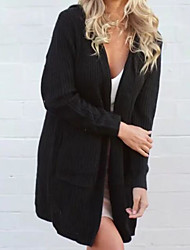 Women's Going out Casual/Daily Street chic Long Cardigan,Solid Hooded Long Sleeves Cotton Acrylic Fall Medium Micro-elastic