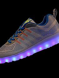 Homme Chaussures d'Athlétisme Confort Polyuréthane Printemps Automne Athlétique Marche Lacet LED Talon Plat Orange Bleu Bleu royalMoins