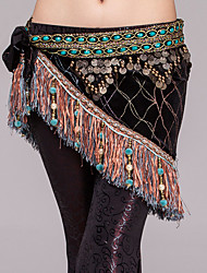 Belly Dance Hip Scarves Women's Performance Polyester Metal Imitation Pearl Chain Paillettes 1 Piece Hip Scarf