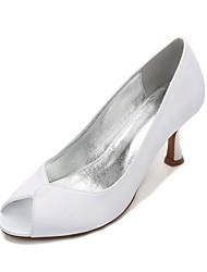 Women's Wedding Shoes Comfort Spring Summer Satin Wedding Dress Party & Evening Split Joint Low Heel Kitten Heel Stiletto Heel Purple