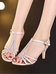 Women's Sandals Comfort PU Summer Casual Comfort Blushing Pink White 4in-4 3/4in