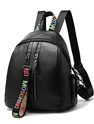 Women Bags Spring All Seasons PU Backpack with Ruffles for Event/Party Casual Formal Office & Career Outdoor Black