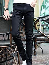 Men's Mid Rise Micro-elastic Skinny Jeans Pants,Simple Skinny Solid