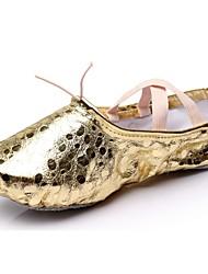 Feminino Balé Sintético Sapatilhas Interior Bolinhas Sem Salto Dourado Prata Menor que 2,5 cm Personalizável