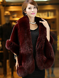 Women's Casual/Daily Simple Fall Winter Fur CoatSolid Square Neck  Length Sleeve Regular Faux Fur Coap