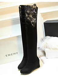 Women's Boots Comfort Fabric Fall Winter Casual Ruby Black 2in-2 3/4in