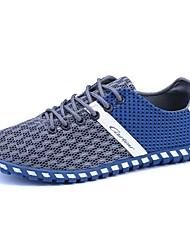 Hombre Zapatillas de deporte Confort Tul Primavera Otoño Casual Con Cordón Tacón Plano Negro Azul Oscuro Gris Plano